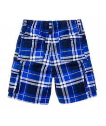 Gymboree Blue Plaid Cargo Shorts Little Boy