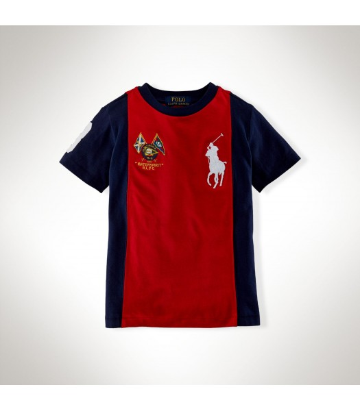 Polo Red Boys Tee Wt Navy Side Panel