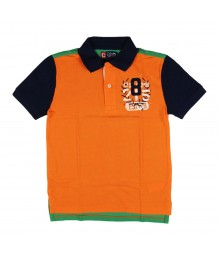 Chaps Orange/Green Color Block Rugby Boys Polo