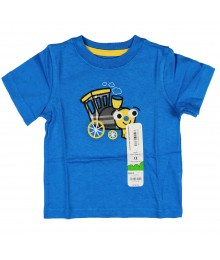Jumping Beans Blue Train Plaid Appliq Boys Tee