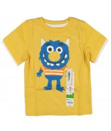 Jumping Beans Yellow Boys Tee Wt Blue Monster Print
