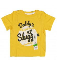 Jumping Beans Yellow Boys Tee With Dad #1 Slugger Baby Boy