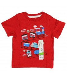 Jumping Beans Red Boys Tee- Tot Train Little Boy