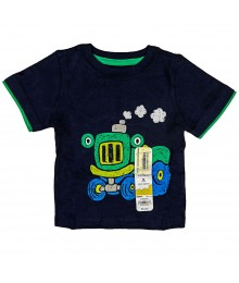 Jumping Beans Navy Boys Tee Tractor Print
