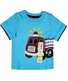 Jumping Beans Turq Boys Tee Fire Truck Print
