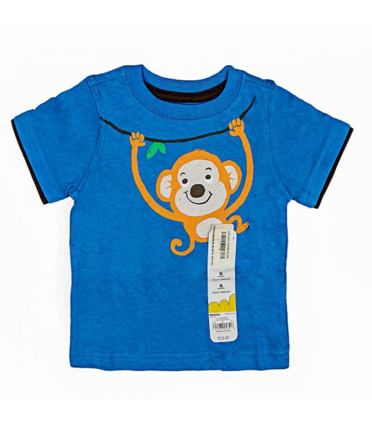 Jumping Beans Blue Boys Tee Fire Swinging Monkey