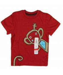 Jumping Beans Red Boys Tee With Monkey Appliq