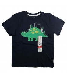 Jumping Beans Navy Boys Tee With Green Dino Appliq