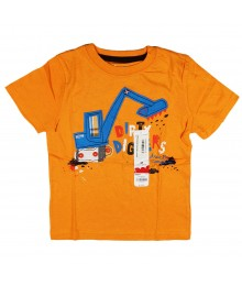 Jumping Beans Orange Boys Tees / - Dirty Digger Appliq