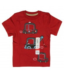 Jumping Beans Red Boys Tee With Cars Appliq