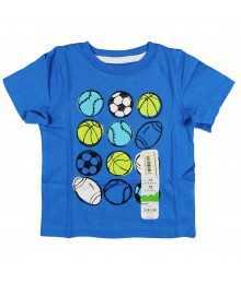 Jumping Beans Blue Boys Tee With Ball Collage Print