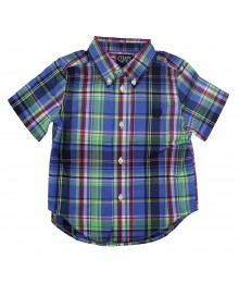 Chaps Blue/Green Plaid Boys Short Sleeve Shirt