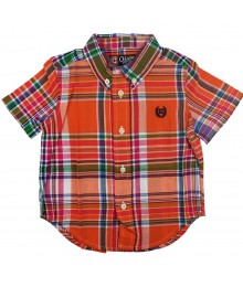 Chaps Orange Multi Plaid Boys Short Sleeve Shirt