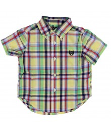 Chaps Yellow Multi Boys Short Sleeve Shirt