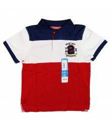 Sonoma Red/Navy/White Color Block Rugby Polo/Athl Crest