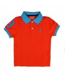 Nautica Orange Polo With Turq Collar, Big Sail Crest N # On Sleeve