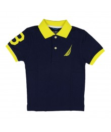 Nautica Navy Polo With Yellow Collar, Big Sail Crest N # On Sleeve