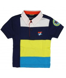 Nautica Navy/Yellow/Turq Pieced Polo Wt Crest On Sleeve