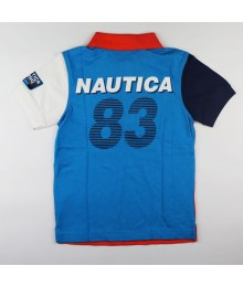 "Nautica Orange/Turq/White Polo Pieced Wt""Nautica 83"" Print @ Back"