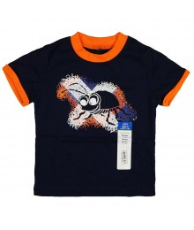 Okie Dokie Navy Wt Orange & Bee Print Boys Tee