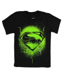 Superman Black/Neongreen Graphic Boys Tee