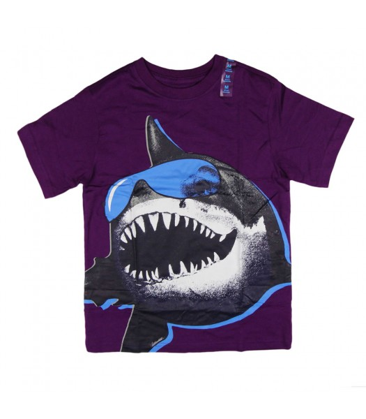 Childrens Place Purple Shark Print Boys Tee