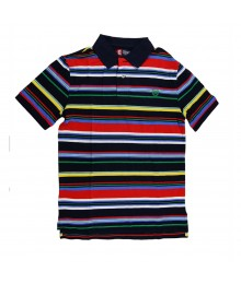 Chaps Navy With Thin Multi Striped  Polo Boys