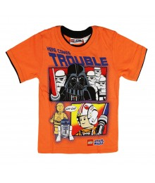 "Lego Star Wars Orange ""Here Comes Trouble"" Boys Tee Little Boy"