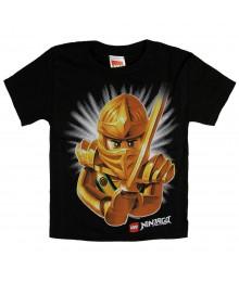 """Lego Ninjago Black""""Gloden Ninja Mask"""" Boys Tee"""