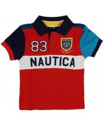 "Nautica Red Polo Block Wt ""Nautica"" Print & 83 & Crest"
