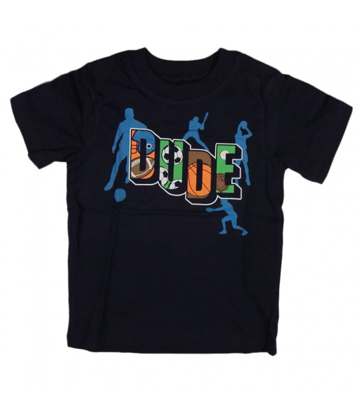 """Childrens Place Black """"Sports Dude"""" Graphic Tee"""