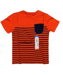 Okie Dokie Orange with Navy Stripe Boys Tee Baby Boy