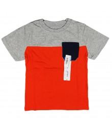 Okie Dokie Orange/Navy/Grey Color Block Boys Tees