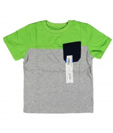 Okie Dokie Grey/Lemon Green/Navy Color Block Boys Tees