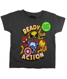 "Marvel Charcoal""Ready For Action"" Boys Tee"