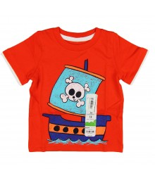 "Jumping Beans Orange""Mock Layer Pirate Ship"" Tee"