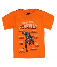 "Marvel Orange ""American Superhero"" Boys Tee"