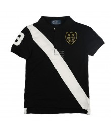 Polo Black Wt White Diagonal Stripe