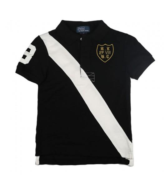 Polo Black Wt White Diagonal Stripe