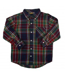 Tommy Red/Green/Navy Plaid Boys Shirt