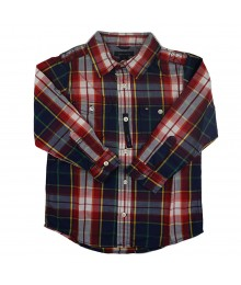 Tommy Red/Navy Plaid Boys Shirt