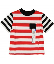 Okie Dokie Red/White Bar Striped Wt Blck/Wht Strped Sleev
