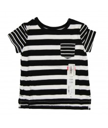 Okie Dokie Black/White Striped Girls Tee