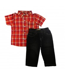 Kids Headqters 2 Pc - Orange Plaid Shirt Wt Black Jeans