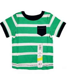 Jumping Beans Green And White Stripped Boys Tees