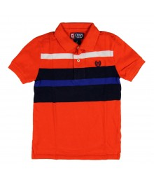 Chaps Orange Polo with Blue/Black/White Chest Bar Stripes