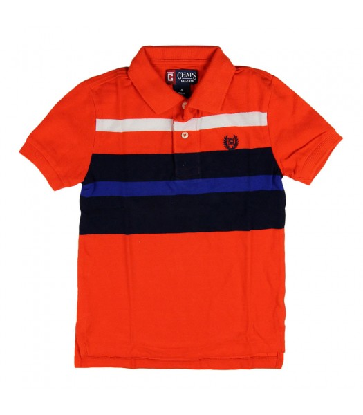 Chaps Orange Polo with Blue/Black/White Chest Bar Stripes Little Boy