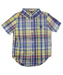 Chaps Yellow Multi Plaid S/Sleeve Button Shirt