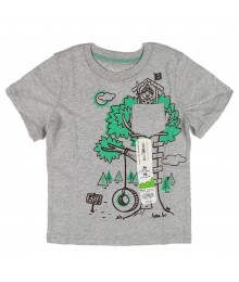Jumping Beans Grey Boys Tee Wt Tree House Print