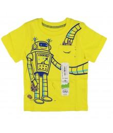 Jumping Beans Yellow Boys Pocket Tee Wt Robot Print